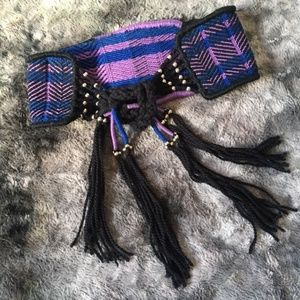 Free People Woven Waist Tie Fringe Belt